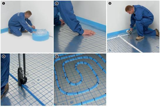 """Последовательность монтажа трубопроводов KAN-therm Blue floor при укладке """"мокрым"""" способом."""