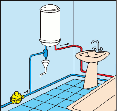 Схема размещения редукционного клапана в квартире