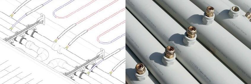 Рис. 2 Примерная конфигурация подключения греющих труб KAN-therm к коллектору из труб KAN-therm PP