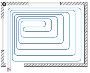 Контур укладки трубы разделяется на две зоны