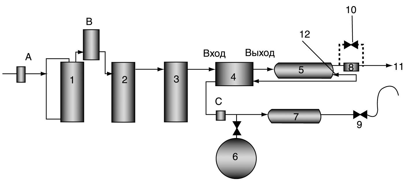 Обратноосмотическая система с четырехходовым клапаном и подкачивающим насосом