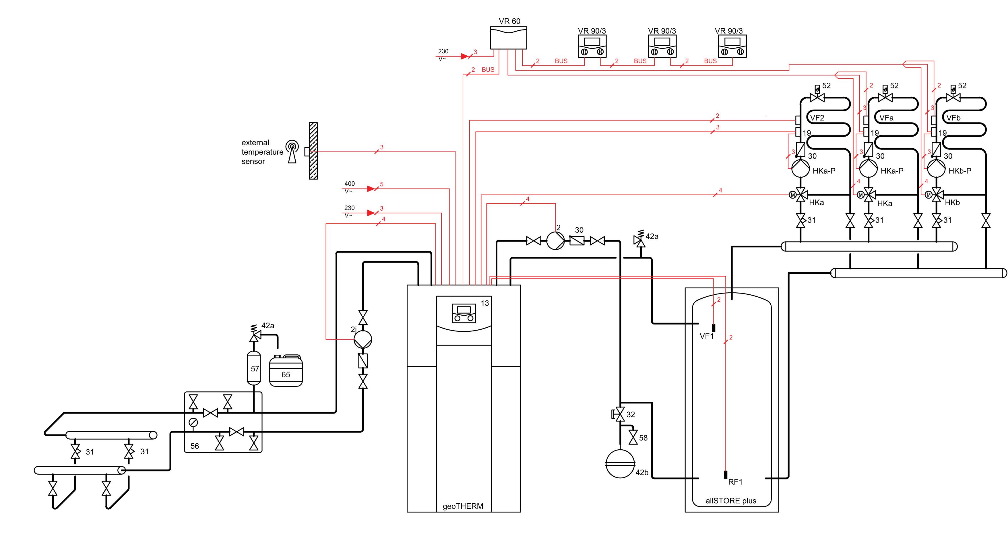 Система с водяными полами и тепловым насосом